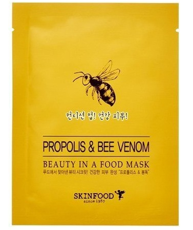 Тканевая маска для лица с прополисом и пчелиным ядом Beauty in a Food Mask Sheet Propolis & Bee Venom, Skinfood