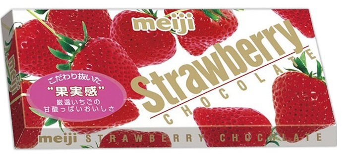 Молочный шоколад с клубничной начинкой Strawberry Chocolate Meiji