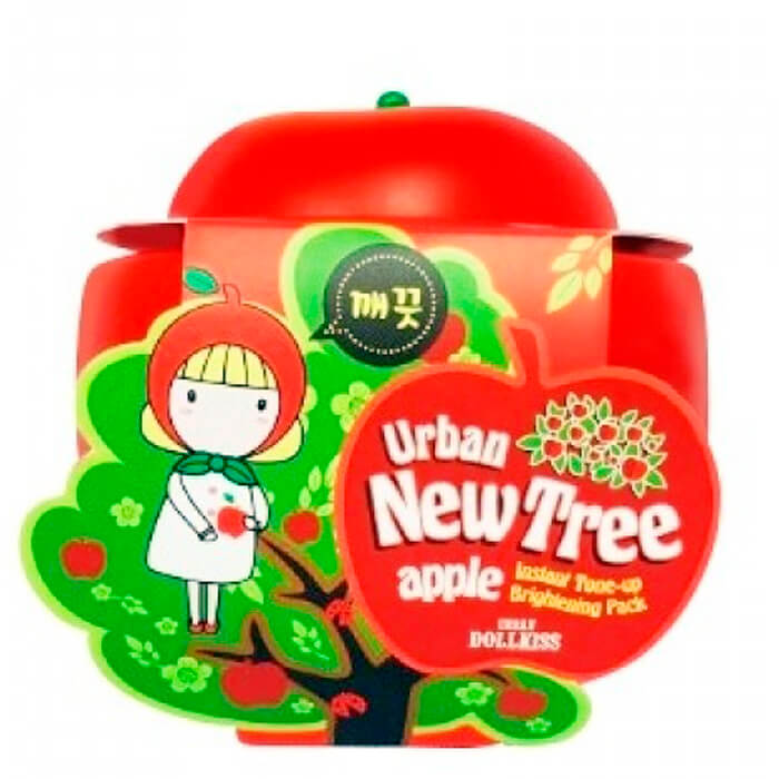 Осветляющая маска для лица New Tree Apple Instant Tone Up Brightening Pack, Urban Dollkiss